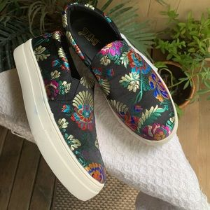 Brash floral black slip on sneakers